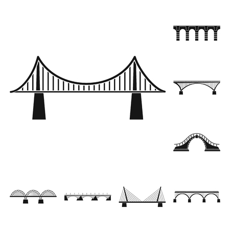 Vector illustration of construct and side symbol. Collection of construct and bridge stock symbol for web.