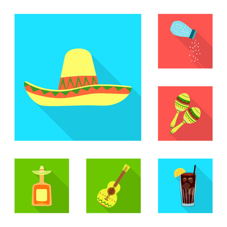 Isolated object of party and celebration icon. Collection of party and Latin stock symbol for web. Ilustrace