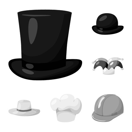 Vector design of hat and helmet symbol. Collection of hat and profession stock symbol for web.