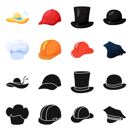Vector design of clothing and cap sign. Collection of clothing and beret vector icon for stock. Ilustrace