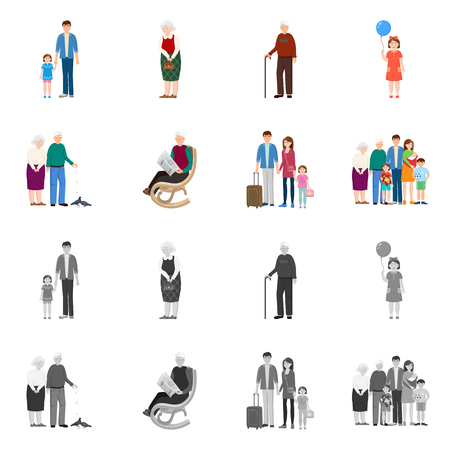 Vector illustration of character and avatar  symbol. Collection of character and portrait stock vector illustration. Illustration