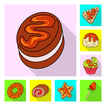 Vector design of confectionery and culinary icon. Set of confectionery and colorful stock vector illustration.  イラスト・ベクター素材