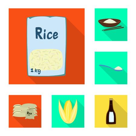 Vector illustration of raw and agricultural symbol. Set of raw and ecological stock vector illustration. Ilustração