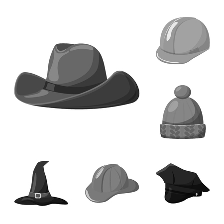 Isolated object of hat and helmet sign. Set of hat and profession stock vector illustration. Ilustração