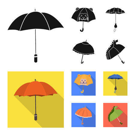 Isolated object of protection and closed logo. Collection of protection and rainy vector icon for stock.