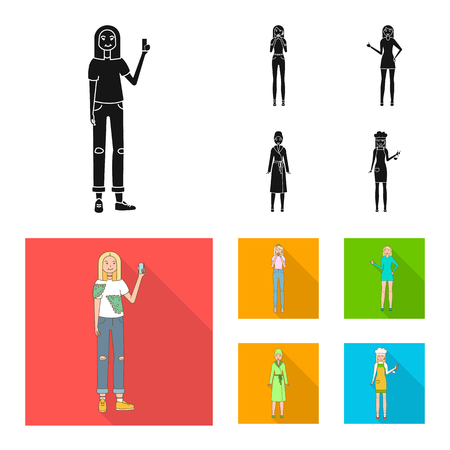 Vector design of posture and mood logo. Set of posture and female stock symbol for web.