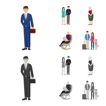 Vector illustration of character and avatar  icon. Collection of character and portrait stock symbol for web.