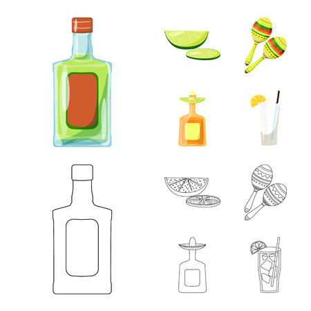 Vector illustration of cafe and Latin icon. Collection of cafe and national stock vector illustration.