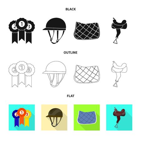 Vector design of equipment and riding icon. Collection of equipment and competition stock vector illustration.