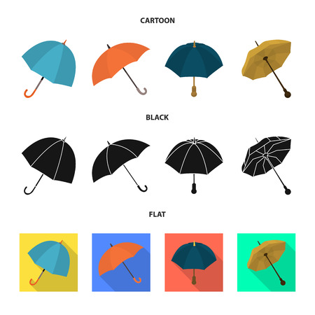 Vector design of protection and closed symbol. Collection of protection and rainy stock symbol for web.