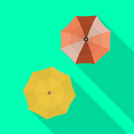 Isolated object of parasol and shadow symbol. Set of parasol and autumn stock symbol for web.