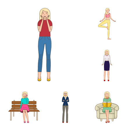 Vector illustration of woman and body icon. Collection of woman and style stock vector illustration. 일러스트