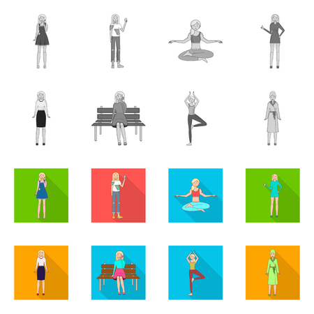 Vector design of posture and mood sign. Collection of posture and female stock vector illustration.