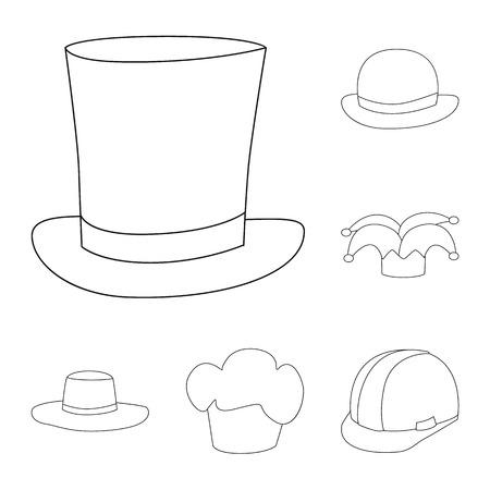 Vector design of headgear and napper symbol. Collection of headgear and helmet vector icon for stock.