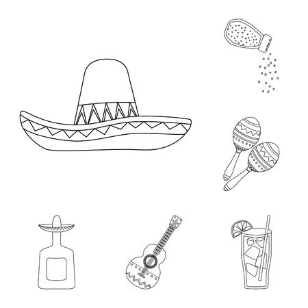 Vector design of Mexico and tequila icon. Collection of Mexico and fiesta stock vector illustration.