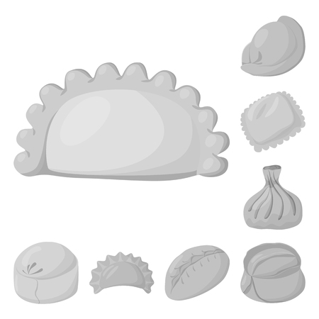 Vector illustration of dumplings and stuffed icon. Set of dumplings and dish vector icon for stock.