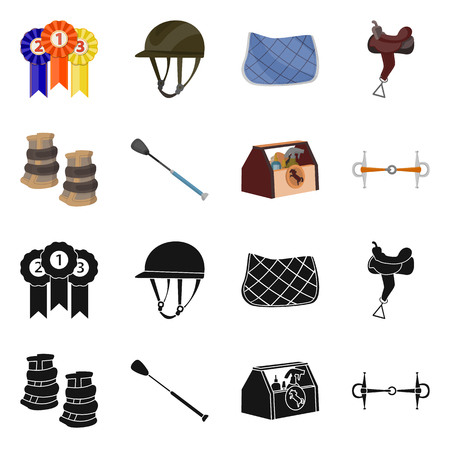 Vector illustration of equipment and riding sign. Set of equipment and competition vector icon for stock. Çizim