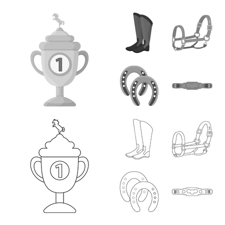 Vector illustration of equipment and riding sign. Set of equipment and competition vector icon for stock.