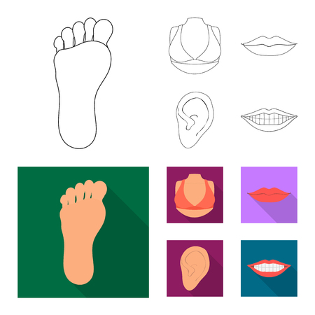 Isolated object of body and part symbol. Collection of body and anatomy stock symbol for web.