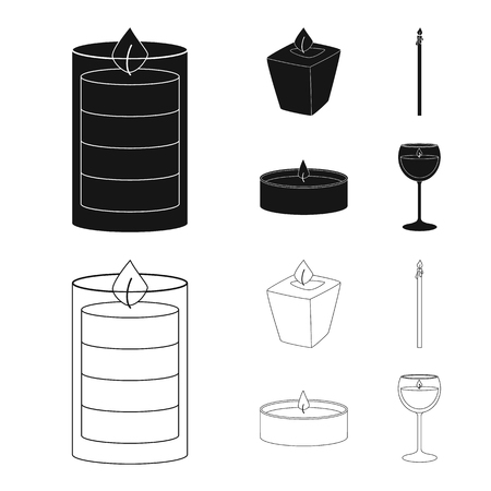 Vector illustration of relaxation and flame symbol. Set of relaxation and wax vector icon for stock. Çizim