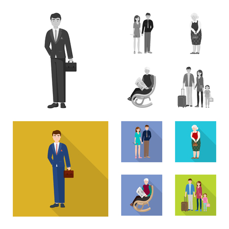 Isolated object of character and avatar. Collection of character and portrait vector icon for stock.
