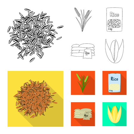 Vector illustration of crop and ecological sign. Collection of crop and cooking stock symbol for web.
