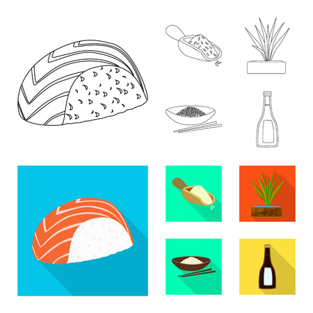 Isolated object of crop and ecological logo. Set of crop and cooking stock symbol for web. Иллюстрация