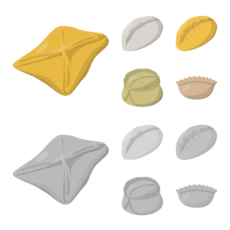 Vector design of products  and cooking icon. Collection of products  and appetizer vector icon for stock.