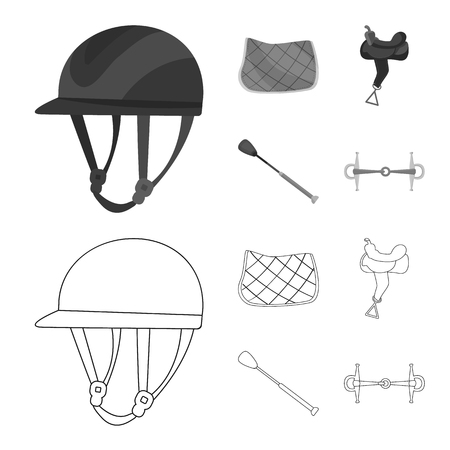 Isolated object of equipment and riding symbol. Collection of equipment and competition stock symbol for web.