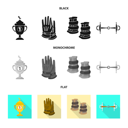 Vector design of equipment and riding icon. Collection of equipment and competition vector icon for stock.
