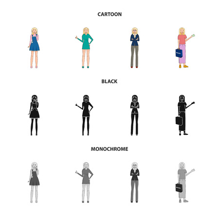 Vector design of posture and mood icon. Set of posture and female vector icon for stock.