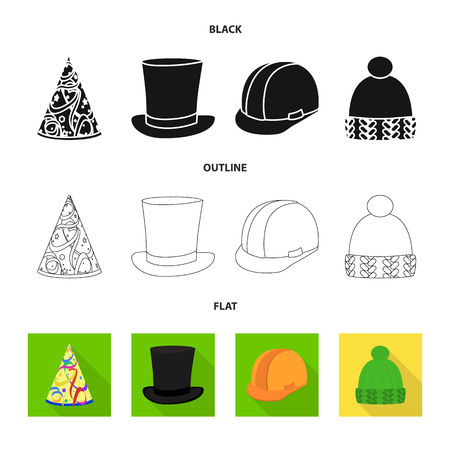 Isolated object of clothing and cap icon. Collection of clothing and beret stock vector illustration.