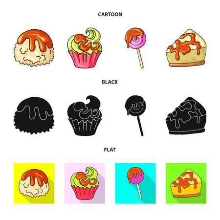 Vector design of confectionery and culinary sign. Set of confectionery and product vector icon for stock.