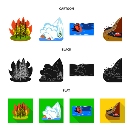 Vector illustration of weather and distress sign. Collection of weather and crash stock vector illustration. Çizim