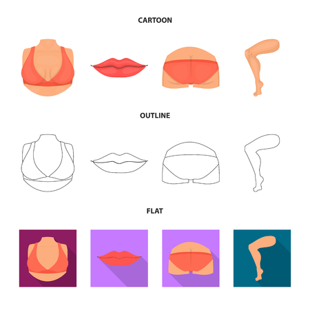 Vector illustration of body and part icon. Set of body and anatomy stock vector illustration.