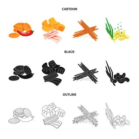 Vector illustration of taste and seasonin. Set of taste and organic stock symbol for web.