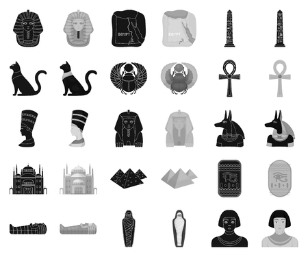 Ancient Egypt black,monochrome icons in set collection for design. The reign of Pharaoh vector symbol stock web illustration.