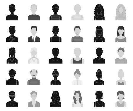 Avatar and face black,monochrome icons in set collection for design. A persons appearance vector symbol stock web illustration.