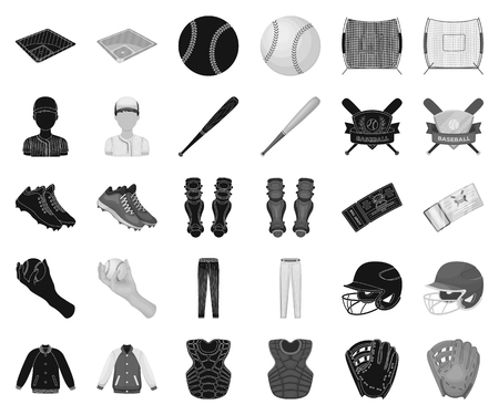 Baseball and attributes black,monochrome icons in set collection for design.Baseball player and equipment vector symbol stock web illustration.