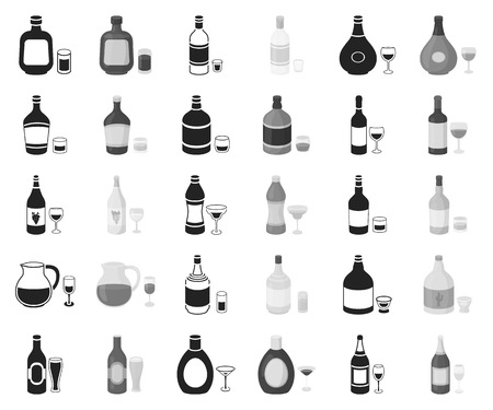 Types of alcohol black,monochrome icons in set collection for design. Alcohol in bottles vector symbol stock web illustration.