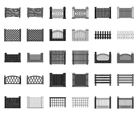 Different fence black,monochrome icons in set collection for design.Decorative fencing vector symbol stock web illustration. Illusztráció