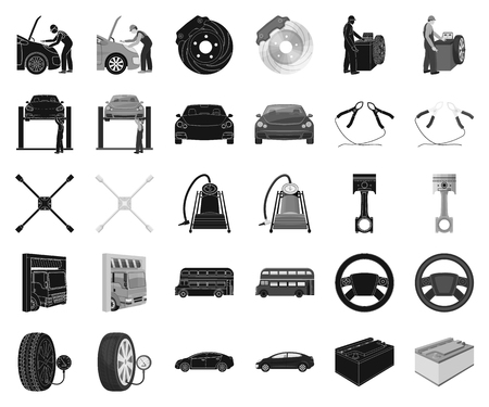 Car, lift, pump and other equipment black,monochrome icons in set collection for design. Car maintenance station vector symbol stock illustration web.