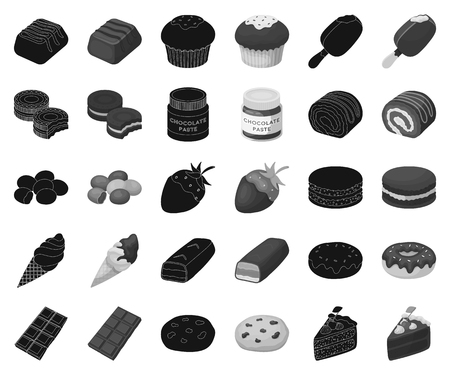 Chocolate Dessert black,monochrome icons in set collection for design. Chocolate and Sweets vector symbol stock web illustration.