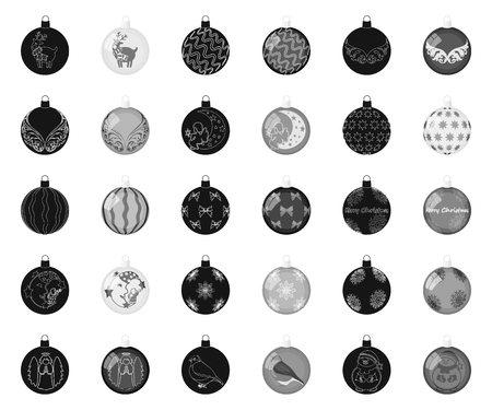 Christmas toys black,monochrome icons in set collection for design.New Year balls vector symbol stock illustration.