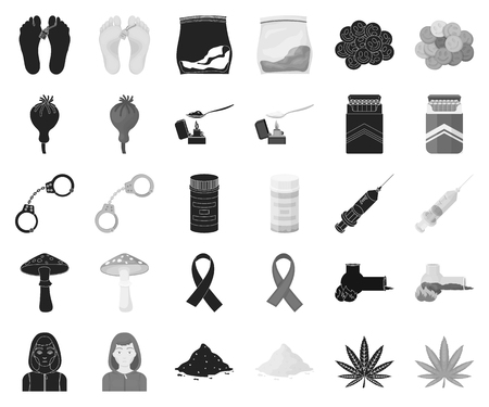 Drug addiction and attributes black,monochrome icons in set collection for design. Addict and Drug vector symbol stock web illustration. Vetores
