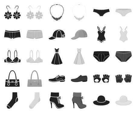 Clothes and accessories black,monochrome icons in set collection for design. Shoes and decoration vector symbol stock illustration.