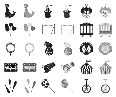 Circus and attributes black,monochrome icons in set collection for design. Circus Art vector symbol stock web illustration.