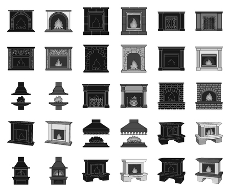 Different kinds of fireplaces black,monochrome icons in set collection for design.Fireplaces construction vector symbol stock web illustration.