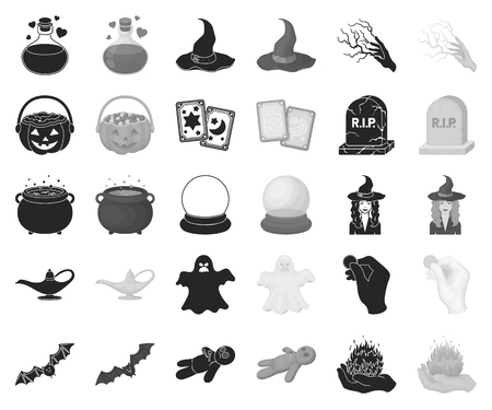 black,monochrome and white magic black,monochrome icons in set collection for design. Attributes and sorceress accessories vector symbol stock web illustration.