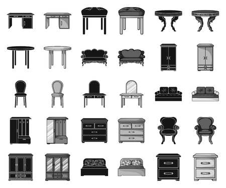 Furniture and interior black,monochrome icons in set collection for design.Home furniture vector symbol stock web illustration. Illustration